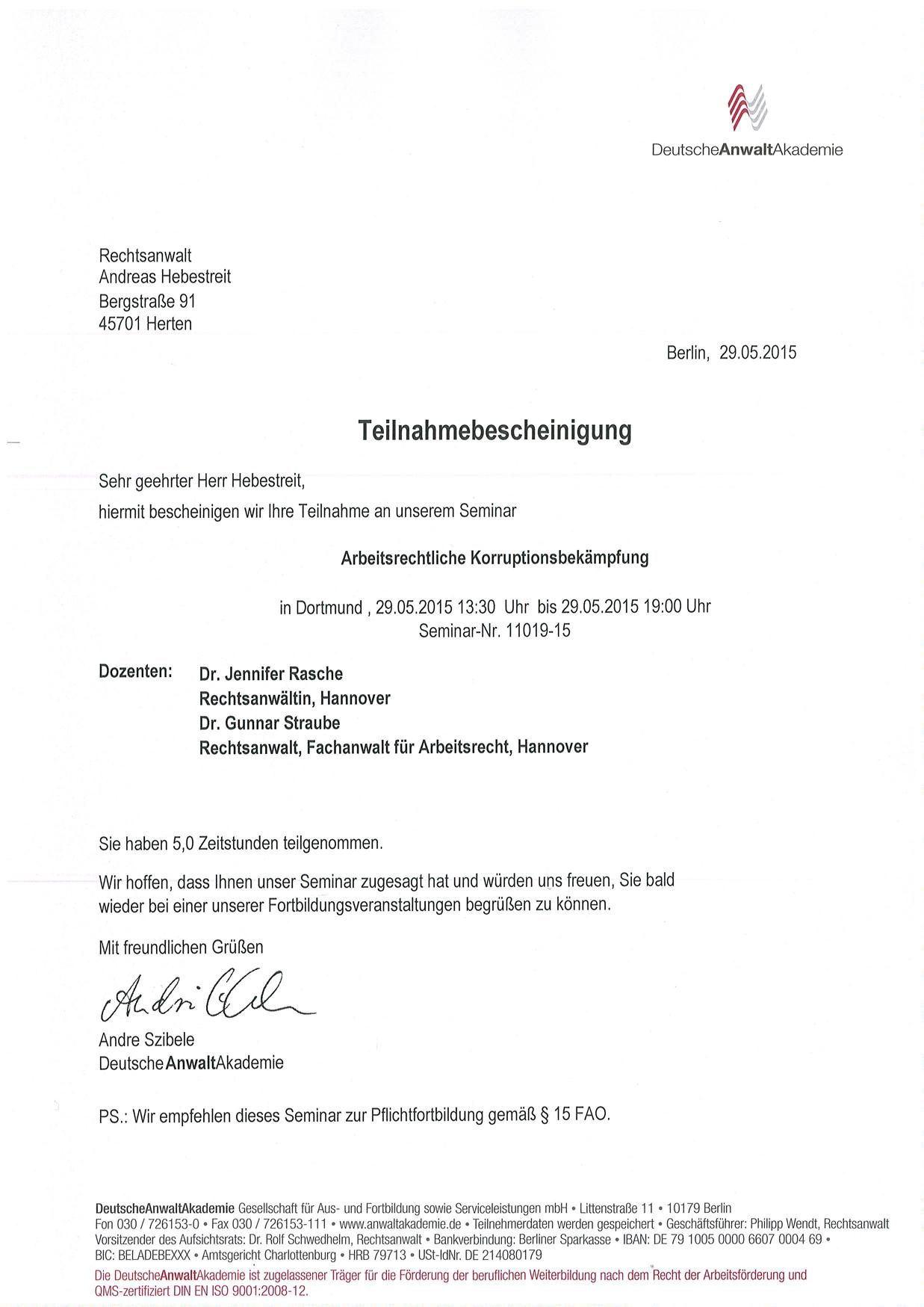 Fortbildungsbescheinigung Rechtsanwalt Andreas Hebestreit