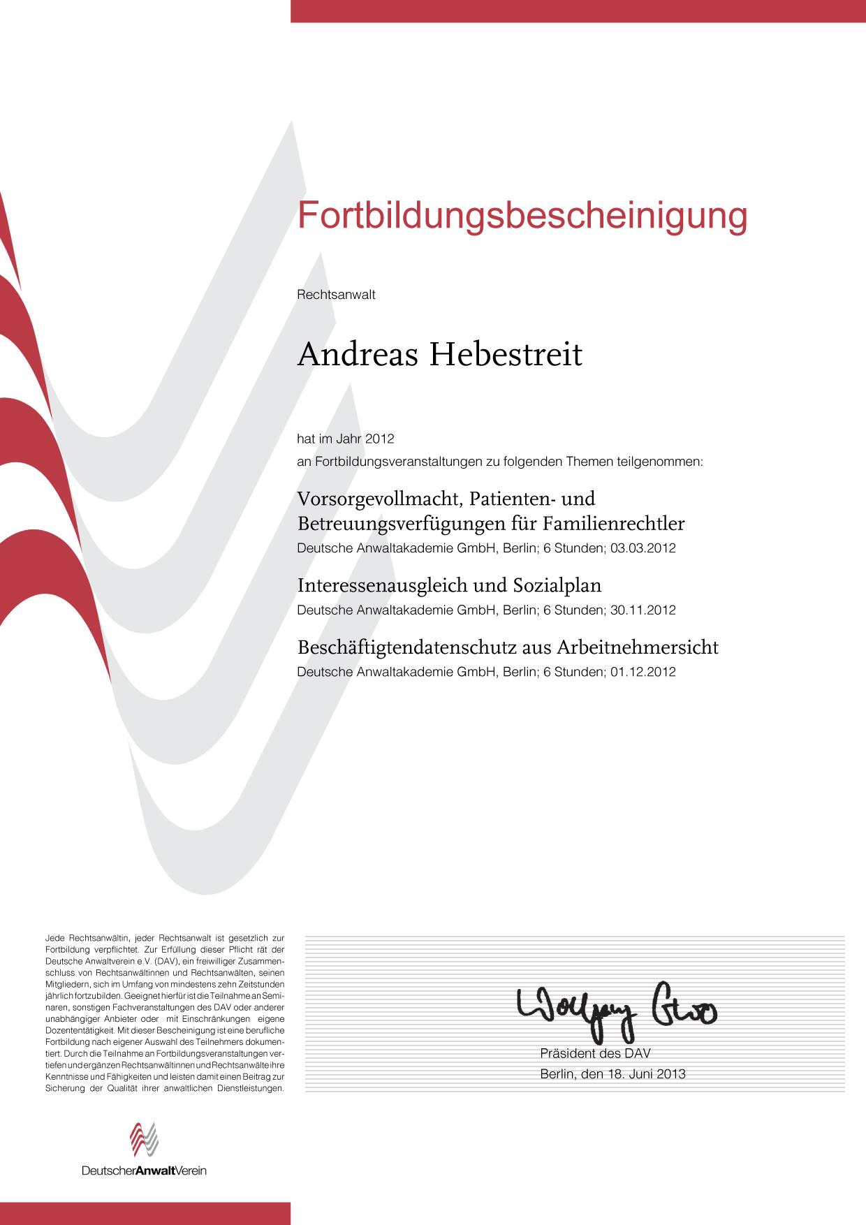 Fortbildungsbescheinigung Rechtsanwalt Kanzlei Andreas Hebestreit